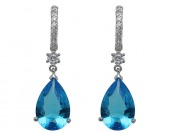$80 off Simulated Blue Topaz Rhodium Plated Drop Earrings