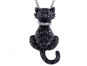 $200 off .25 cttw Black & White Diamond Cat Pendant