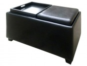 30% off Brexley Black Double Storage Leather Ottoman with Tray