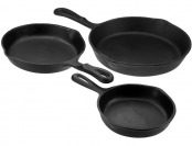 56% off Universal Housewares 3 Pc Pre-Seasoned Cast Iron Skillet Set