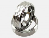 93% off Light Tungsten Ring with Brushed Hammer Hit Design