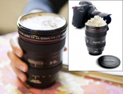 "75% off SLR Camera Lens 12 Oz Coffee Mug w/ ""Camera Lens"" Lid"