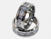 93% off Light Tungsten Ring With Silver Dragon Inlay