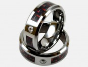 90% off Light Tungsten Ring W/ Red Carbon Fiber Inlay & CZ Stud