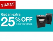 Extra 25% off Al Shredders at Staples.com