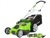 "$111 off GreenWorks Twin Force G-MAX 20"" Mower, 2 Batteries"