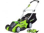 "$83 off GreenWorks G-MAX 16"" Mower, 40V 4 AH Li-Ion Battery"