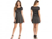 70% off Star Vixen Women's Short Sleeve Belted Ponte Skater Dress