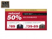 Extra 50% off Suits, Sportcoats & More at Jos A Bank
