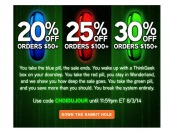 20% off $50, 25% off $100 & 30% off $150 Orders at ThinkGeek