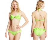 80% off U.S. Polo Assn. Women's Ruffled Bikini, Gilly Lime