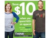 Save $10 When You Spend $20+ on Apparel at ThinkGeek