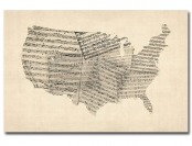 91% off USA Sheet Music Map by Michael Tompsett Canvas Wall Art