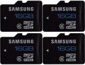 86% Samsung 16GB microSDHC Memory Card (4 Pack)