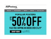 Allposters Sale - Up to 50% off Plus Free Shipping with $15 Order