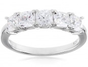 "75% off Myia Passiello ""Cushion"" Cut Swarovski Zirconia 5 Stone Ring"