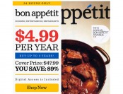 $43 off Bon Appetit Magazine Subscription, $4.99 / 12 Issues