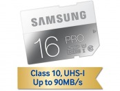 50% off Samsung 16GB PRO Class 10 SDXC Memory Card, 90MB/s