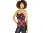 85% off XOXO Juniors' Lace-Trim Plaid Camisole