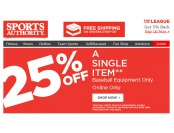 Sports Authority Flash Sale - 25% Off A Single Baseball Item