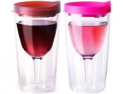 69% off Vino2Go Wine Tumblers, 10-Ounce, Set of 2, Merlot and Pink