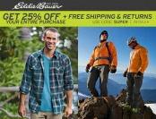 Extra 25% off + Free Shipping at Eddie Bauer