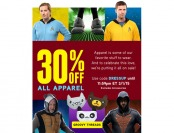 Extra 30% off All Apparel at ThinkGeek.com
