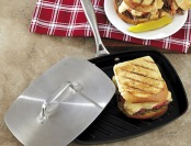 79% off CHEFS Hard Anodized Nonstick Panini Pan with Press