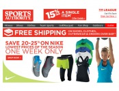 Up to 25% off Nike Apparel and Shoes at Sports Authority
