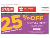 Sports Authority Flash Sale - Extra 25% Off Any Single Item