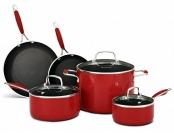 $80 off KitchenAid Aluminum Nonstick 8-Pc Set Cookware, Red