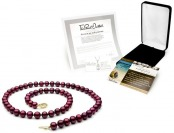 $1,310 off Cranberry Red Pearl Necklace, 8mm, 14k Gold Clasp