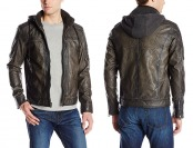 50% off X-Ray Men's Faux Leather Moto Jacket with Removable Hood