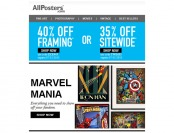 Extra 40% off Framing or 35% off Everything at Allposters.com