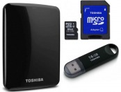 Extra $10 off Toshiba 1TB USB 3.0 Hard Drive + 16GB USB & 16GB SD