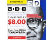93% off Wired Magazine 2-Year Subscription, $8 / 24 Issues