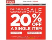 Sports Authority Flash Sale - 20% Off Any Single Item