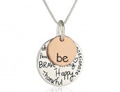 "60% off Two-Tone Sterling Silver ""Be"" Graffiti Charm Necklace, 18"""