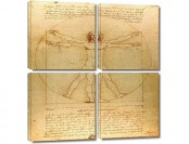 $309 off ArtWall 4-Pc Leonardo DaVinci 'Vitruvian Man' Canvas