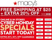 Macy's Cyber Monday Sale - Free Shipping at $25 + Extra 20% off
