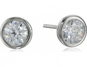 79% off Sterling Silver Bezel Martini Set CZ Solitaire Earrings