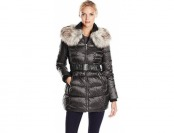 72% off Betsey Johnson Women's Long Puffer Coat w/ Faux Fur & Belt