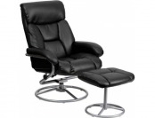 53% off Contemporary Black Leather Recliner and Ottoman