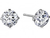 77% off 10k White Gold Round-Cut Swarovski Zirconia Stud Earrings
