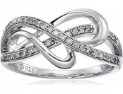 69% off Sterling Silver 1/4cttw Diamond Heart Ring