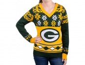 43% off Klew Women's Green Bay Packers Big Logo V-Neck Sweater