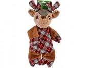 75% off Petco Holiday Plaid Flattie Reindeer Dog Toy