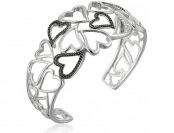 67% off Sterling Silver Black Diamond Accent Cuff Bracelet