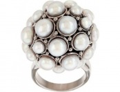 50% off Honora Freshwater Pearl Stainless Steel Round Cluster Ring