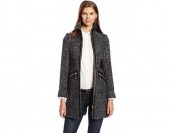 63% off Via Spiga Women's Chevron Tweed Wool Coat, Black/White